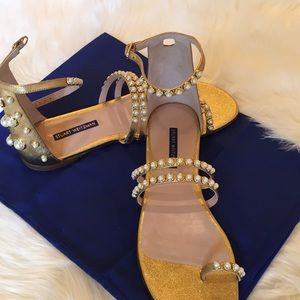 Stewart Weitzman Petrine pearl studded sandals